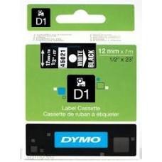 DYMO 45021 D1 Tape 12mm x 7m hvid på sort, S0720610