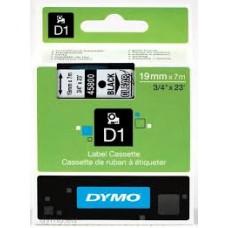 DYMO 45800 D1 Tape 19mm x 7m sort på klar/transparent, S0720820