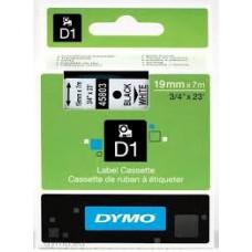 DYMO 45803 D1 Tape 19mm x 7m sort på hvid, S0720830