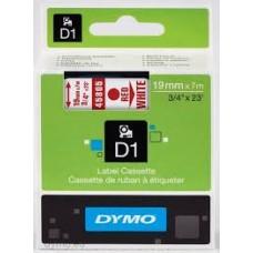 DYMO 45805 D1 Tape 19mm x 7m rød på hvid, S0720850