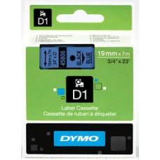 DYMO 45806 D1 Tape 19mm x 7m sort på blå, S0720860