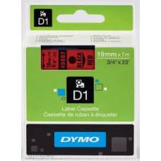 DYMO 45807 D1 Tape 19mm x 7m sort på rød, S0720870