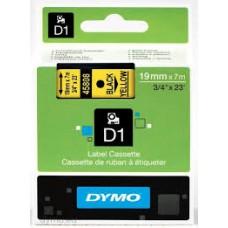 DYMO 45808 D1 Tape 19mm x 7m sort på gul, S0720880
