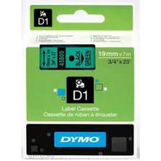 DYMO 45809 D1 Tape 19mm x 7m sort på grøn, S0720890