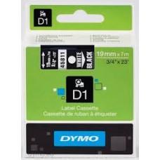 DYMO 45811 D1 Tape 19mm x 7m hvid på sort, S0720910