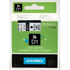 DYMO 53713 D1 Tape 24mm x 7m sort på hvid, S0720930