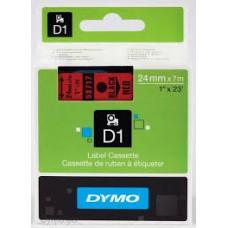 DYMO 53717 D1 Tape 24mm x 7m sort på rød, S0720970