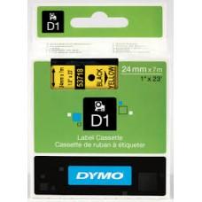 DYMO 53718 D1 Tape 24mm x 7m sort på gul, S0720980