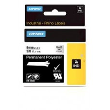 18508 DYMO RhinoPRO Polyester Tape 9mm x 7m sort på klar, S0718160