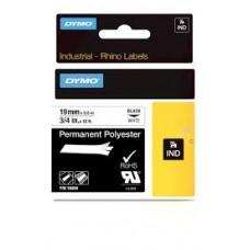 DYMO Rhino Permanent polyester 19mm x 5,5m sort/hvid, S0718220