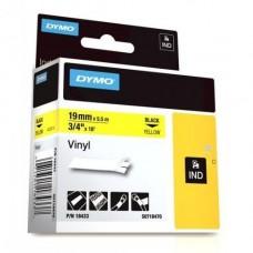DYMO Rhino 18433 Vinyl tape 19mm x 5,5m sort på gul, S0718470