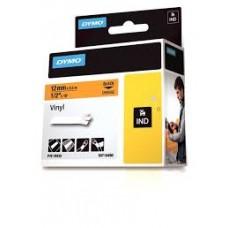 DYMO Rhino 18435 Vinyl tape 12mm x 5,5m sort på orange, S0718490