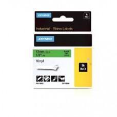 DYMO Rhino 18441 Vinyl tape 12mm x 5,5m sort på grøn, S0718560