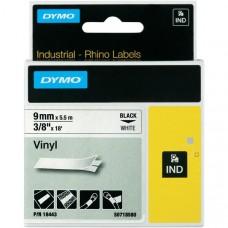 DYMO RhinoPRO 18443 Vinyl tape 9mm x 5,5m sort på hvid, S0718580