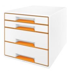 LEITZ Bordskub WOW 4-lådor vit/orange, 52131044
