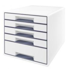 LEITZ Bordskub WOW 5-lådor Vit/grå, 52141001