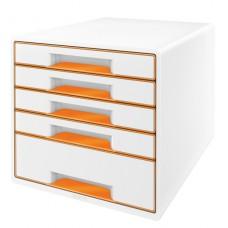 LEITZ Bordskub WOW 5-lådor Vit/orange, 52141044