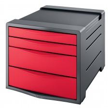 ESSELTE Förvaringsbox Europost 4 Lådor Röd , 623960